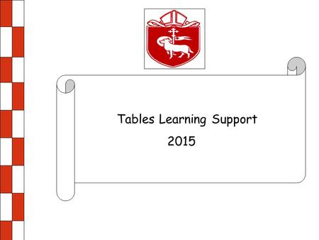 Tables Learning Support 2015. 0 x 2 = 0 1 x 2 = 2 2 x 2 = 4 3 x 2 = 6 4 x 2 = 8 5 x 2 = 10 6 x 2 = 12 7 x 2 = 14 8 x 2 = 16 9 x 2 = 18 10 x 2 = 20 11.
