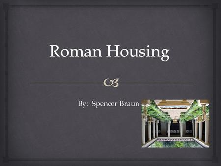 By: Spencer Braun.   In ancient Rome, the extent of the house you lived in depended entirely on your wealth and your spot on the social ladder.  If.