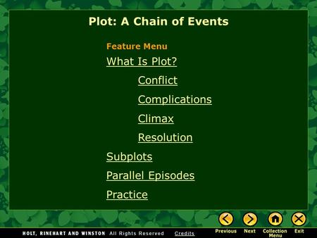 What Is Plot? Conflict Complications Climax Resolution Subplots Parallel Episodes Practice Plot: A Chain of Events Feature Menu.