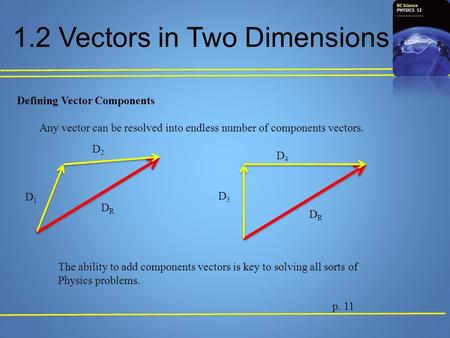 1.2 Vectors in Two Dimensions Defining Vector Components Any vector can be resolved into endless number of components vectors. p. 11 DRDR DRDR D1D1 D2D2.