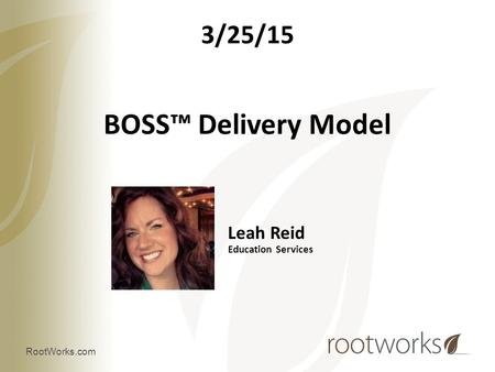 BOSS™ Delivery Model 3/25/15 Leah Reid Education Services