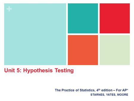 + The Practice of Statistics, 4 th edition – For AP* STARNES, YATES, MOORE Unit 5: Hypothesis Testing.