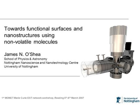 Towards functional surfaces and nanostructures using non-volatile molecules James N. O'Shea School of Physics & Astronomy Nottingham Nanoscience and Nanotechnology.