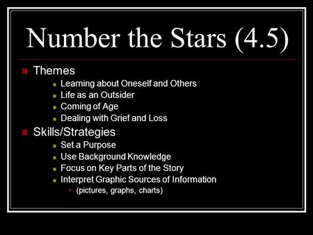 Number the Stars (4.5) Themes Learning about Oneself and Others Life as an Outsider Coming of Age Dealing with Grief and Loss Skills/Strategies Set a Purpose.