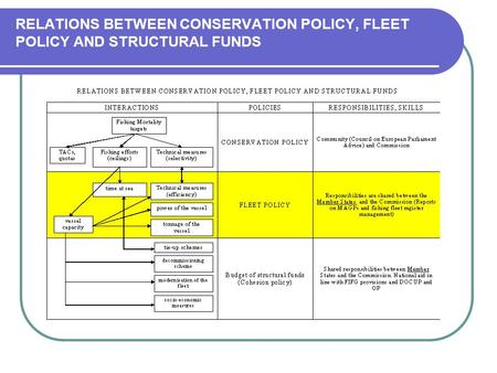 RELATIONS BETWEEN CONSERVATION POLICY, FLEET POLICY AND STRUCTURAL FUNDS.