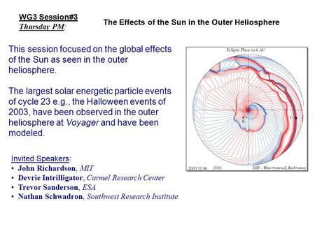 WG3 Session#3 Thursday PM: This session focused on the global effects of the Sun as seen in the outer heliosphere. The largest solar energetic particle.
