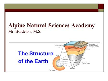 Alpine Natural Sciences Academy Mr. Bordelon, M.S. The Structure of the Earth.