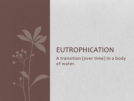 A transition (over time) in a body of water. EUTROPHICATION.
