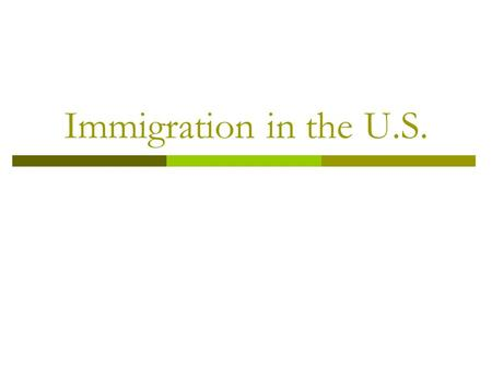 "Immigration in the U.S.. I. Waves of Immigration  Colonial Immigration: 1600s - 1700s  ""Old"" Immigration: 1787-1850  ""New"" Immigration: 1850-1924."