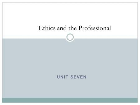 UNIT SEVEN Ethics and the Professional. Welcome Any questions?