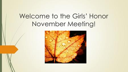 Welcome to the Girls' Honor November Meeting!.  Thank you to all who came to the Awareness Party!  If you need your sheet still, please get it after.