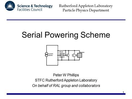 Rutherford Appleton Laboratory Particle Physics Department 1 Serial Powering Scheme Peter W Phillips STFC Rutherford Appleton Laboratory On behalf of RAL.