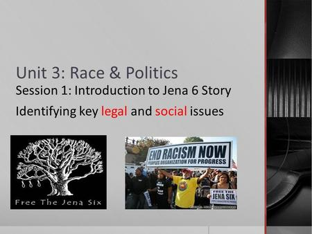 Unit 3: Race & Politics Session 1: Introduction to Jena 6 Story Identifying key legal and social issues.