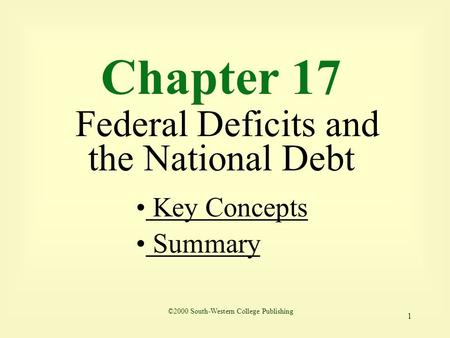 1 Chapter 17 Federal Deficits and the National Debt Key Concepts Key Concepts Summary ©2000 South-Western College Publishing.