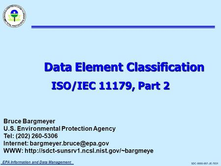 Data Element Classification ISO/IEC 11179, Part 2