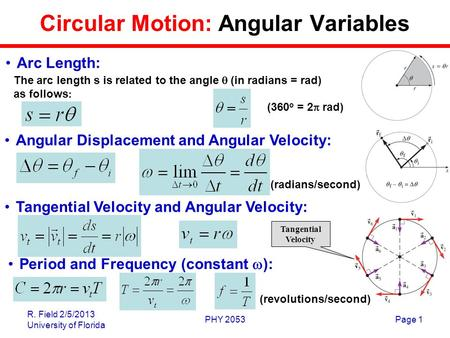 R. Field 2/5/2013 University of Florida PHY 2053Page 1 Circular Motion: Angular Variables The arc length s is related to the angle  (in radians = rad)