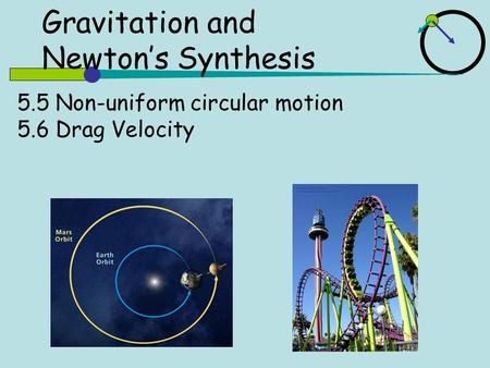 5.5 Non-uniform circular motion 5.6 Drag Velocity Gravitation and Newton's Synthesis.