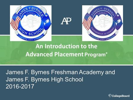 An Introduction to the Advanced Placement Program ® James F. Byrnes Freshman Academy and James F. Byrnes High School 2016-2017.