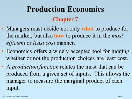 Production Economics Chapter 7