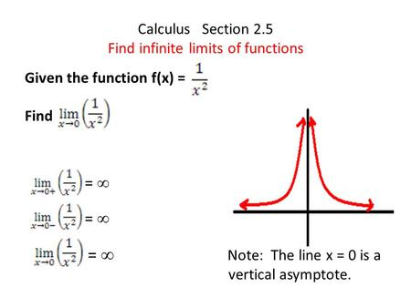Calculus Section 2.5 Find infinite limits of functions Given the function f(x) = Find =  Note: The line x = 0 is a vertical asymptote.