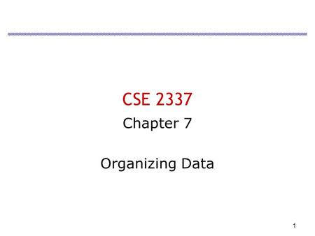 1 CSE 2337 Chapter 7 Organizing Data. 2 Overview Import unstructured data Concatenation Parse Create Excel Lists.