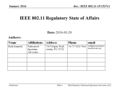 Doc.: IEEE 802.11-15/1537r1 Submission January 2016 Rich Kennedy, Unlicensed Spectrum Advocates, LLCSlide 1 IEEE 802.11 Regulatory State of Affairs Date: