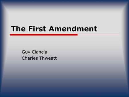 The First Amendment Guy Ciancia Charles Thweatt. Who & What  Juan Williams, analyst of National Public Radio.  Juan Williams was fired from NPR after.