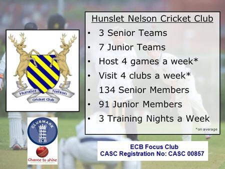 © Hunslet Nelson Cricket Club 2011 Hunslet Nelson Cricket Club 3 Senior Teams 7 Junior Teams Host 4 games a week* Visit 4 clubs a week* 134 Senior Members.