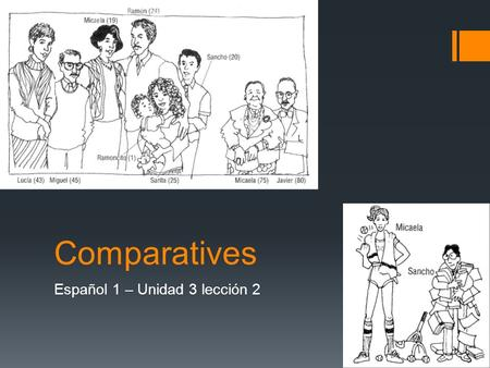 Comparatives Español 1 – Unidad 3 lección 2. Learning Goal – Student will be able to make comparisons.  What is a comparative?  Comparatives are phrases.