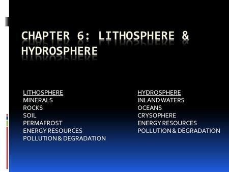 LITHOSPHEREHYDROSPHERE MINERALSINLAND WATERS ROCKSOCEANS SOILCRYSOPHERE PERMAFROSTENERGY RESOURCES ENERGY RESOURCESPOLLUTION & DEGRADATION POLLUTION &