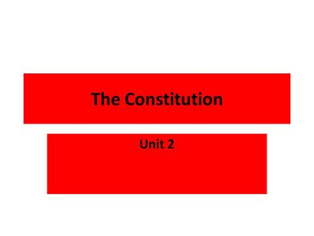 The Constitution Unit 2. Homework Due Wednesday Quiz Tomorrow Slides 1 to 16.