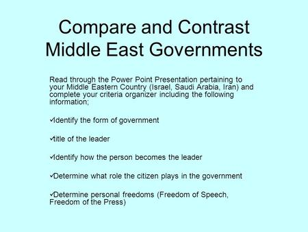 Compare and Contrast Middle East Governments Read through the Power Point Presentation pertaining to your Middle Eastern Country (Israel, Saudi Arabia,