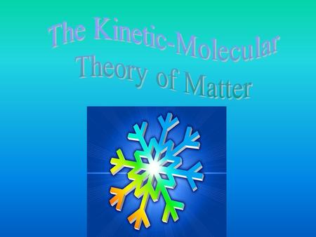 Kinetic-Molecular Theory Remember that matter exists on Earth in the forms of solids, liquids, and gases.