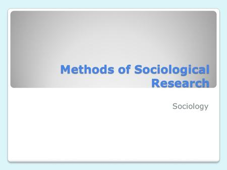 sociology the comparative method