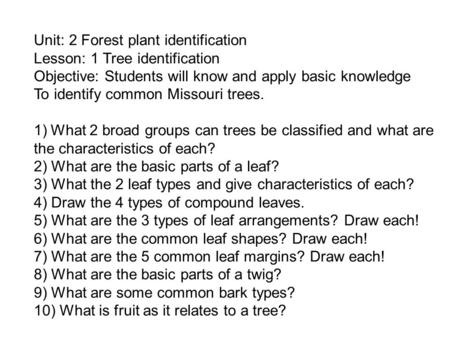 Unit: 2 Forest plant identification