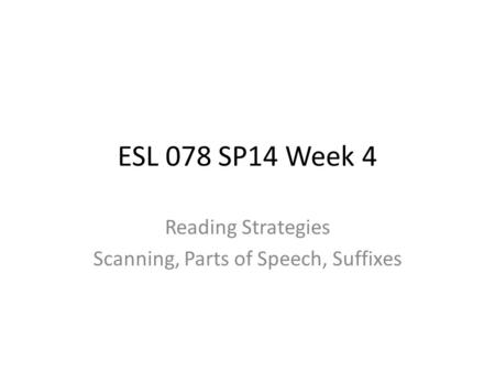 ESL 078 SP14 Week 4 Reading Strategies Scanning, Parts of Speech, Suffixes.