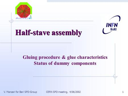 CERN SPD meeting, 4/06/2002V. Manzari for Bari SPD-Group1 Half-stave assembly Gluing procedure & glue characteristics Status of dummy components.