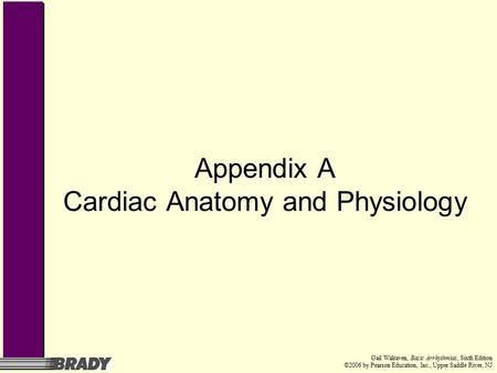 Gail Walraven, Basic Arrhythmias, Sixth Edition ©2006 by Pearson Education, Inc., Upper Saddle River, NJ Appendix A Cardiac Anatomy and Physiology.