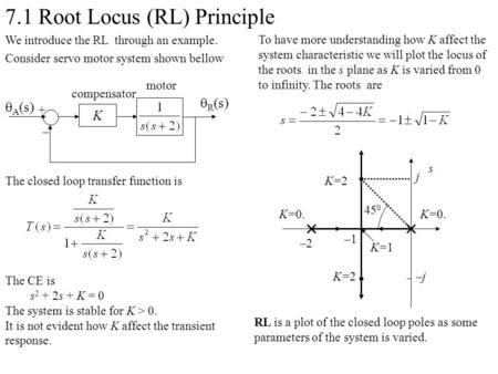 7.1 Root Locus (RL) Principle We introduce the RL through an example. Consider servo motor system shown bellow The closed loop transfer function is motor.