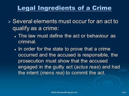 elements of crime essay The elements of first degree murder state laws categorizing murders into first  in some places, the top level murder crime is called by another name.