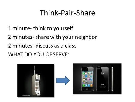 Think-Pair-Share 1 minute- think to yourself 2 minutes- share with your neighbor 2 minutes- discuss as a class WHAT DO YOU OBSERVE: