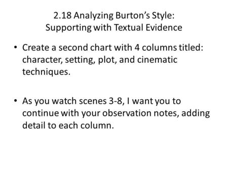 2.18 Analyzing Burton's Style: Supporting with Textual Evidence Create a second chart with 4 columns titled: character, setting, plot, and cinematic techniques.