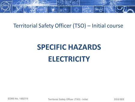 DGS/SEETerritorial Safety Officer (TSO) - Initial Territorial Safety Officer (TSO) – Initial course SPECIFIC HAZARDS ELECTRICITY EDMS No. 1482315.