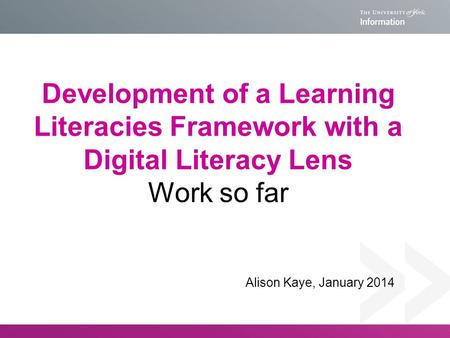 Development of a Learning Literacies Framework with a Digital Literacy Lens Work so far Alison Kaye, January 2014.