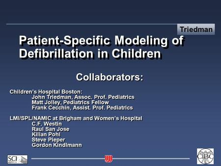 Triedman Patient-Specific Modeling of Defibrillation in Children Collaborators: Children's Hospital Boston: John Triedman, Assoc. Prof. Pediatrics Matt.