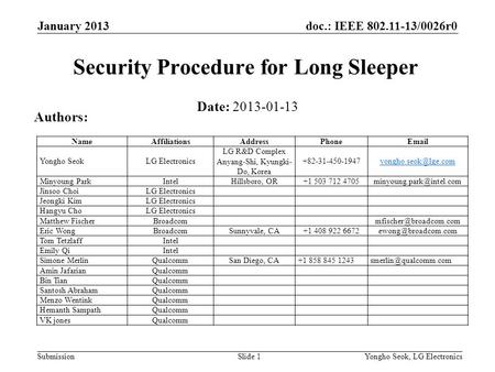 Doc.: IEEE 802.11-13/0026r0 Submission January 2013 Yongho Seok, LG ElectronicsSlide 1 Security Procedure for Long Sleeper Date: 2013-01-13 Authors: NameAffiliationsAddressPhoneEmail.