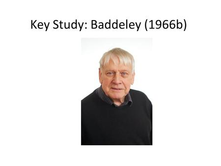 Baddeley 1966 study evaluation report