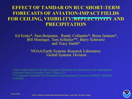 AMS 13 th Conference on Aviation, Range and Aerospace Meteorology – January 2008 – New Orleans, Louisiana 1 January 22, 2008 EFFECT OF TAMDAR ON RUC SHORT-TERM.