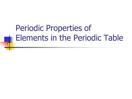 Periodic Properties of Elements in the Periodic Table.
