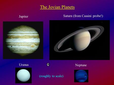 The Jovian Planets Jupiter Saturn (from Cassini probe!) Uranus Neptune (roughly to scale)
